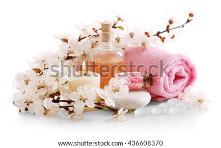 Spa composition with blooming branch