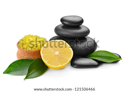 spa composition with stones and toning lemon crystals