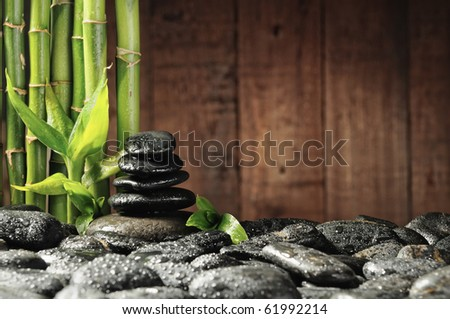 spa concept bamboo grove and black zen stones on the old wooden background