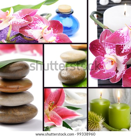 Spa concept. Collage with spa stones, flowers, candles and essential oil