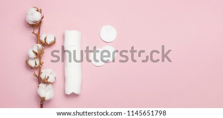 Spa concept. Flat lay background with branch of cotton plant, cotton pads. Cotton Cosmetic Makeup Removers Tampons. Hygienic sanitary swabs on the pink background Top view with space for text