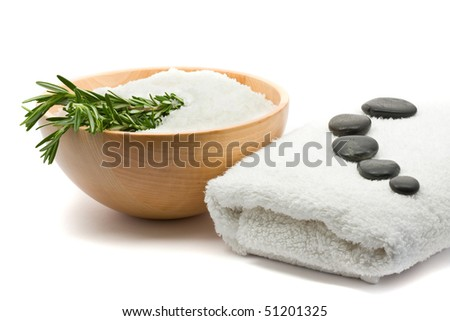 Spa concept of aromatherapy with salt and rosemary