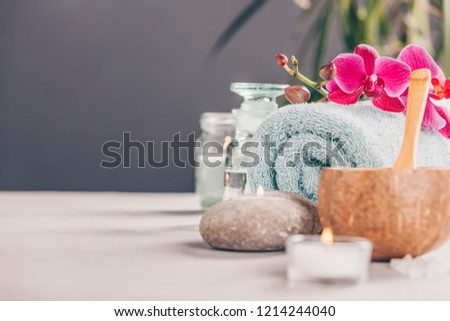 Spa Concept on concrete background - space for text