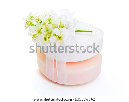Spa concept ,soap white spring flowers