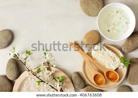Spa concept, spa background, stylized photo, top view,  with a space for a text
