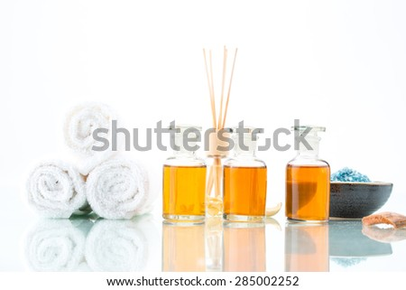 Spa concept with aromatherapy, essential oil, Towel and salt