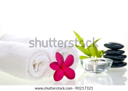 Spa concept with black zen stones and red flower over white background