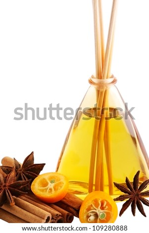 Spa concept with essential oil isolated on white background - stock photo