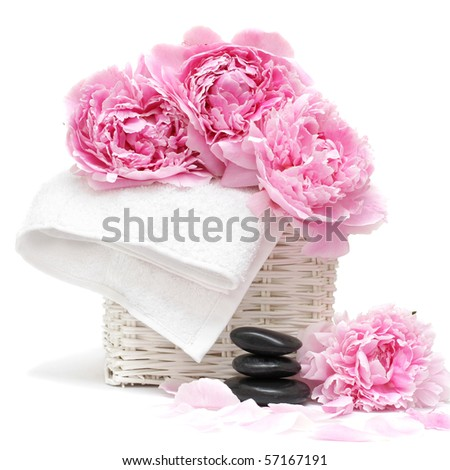 spa concept with flower, towel and stones isolated on white. Soft focus