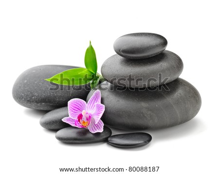 spa concept with zen stones and flower