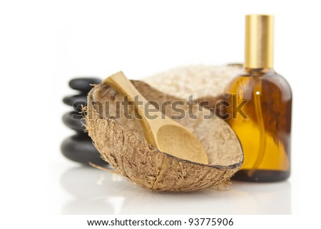 spa concept with zen stones, bowl ,oil,salt and wooden spoon
