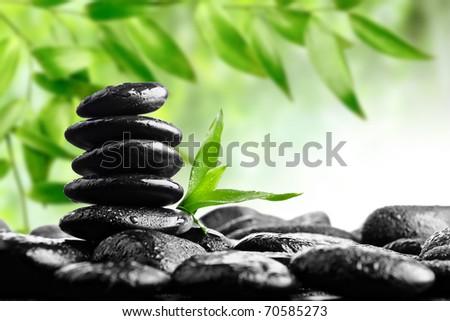 spa concept zen basalt stones - stock photo