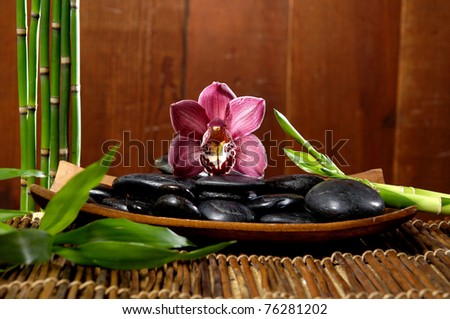 spa concept- zen stones and orchid in the bowl and bamboo grove