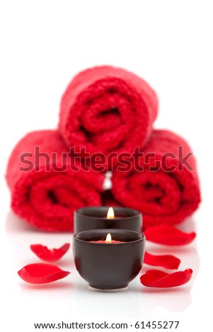 Spa Decor With Candle, Towel And Red Rose Petals Stock Photo ...