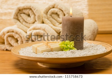 Spa Decor Wooden Tray With Candle And Soap Natural Color Stock ...