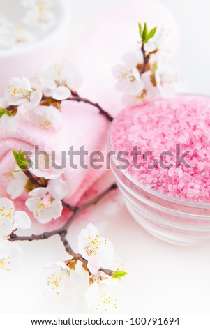 Spa essentials (sea salt, towel and blossom apricot)