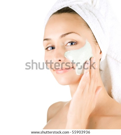 Spa Facial Mask.Day-spa - stock photo