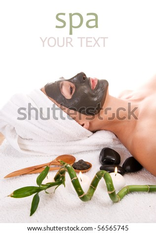 Spa. Facial Mud Mask.Isolated on white