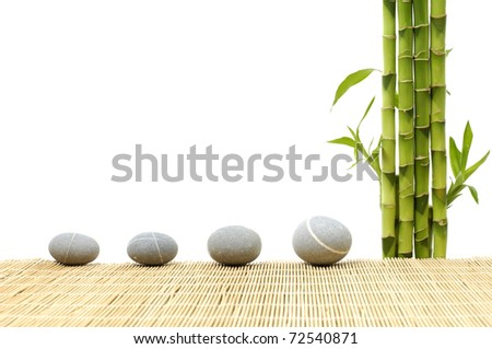 spa frame made from four stones and bamboo grove