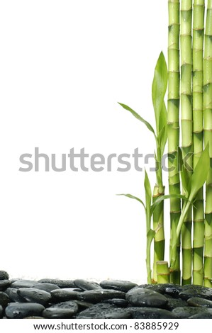 spa frame made from stones and bamboo grove - stock photo