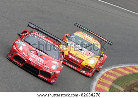 SPA FRANCORCHAMPS, BELGIUM - JULY 30: Romain Brandela, Eric Cayrolle, Christophe Jouet, Michael Petit in the Ferrari 430 Scuderia racing on July 30, 2011 in the 24 Hours Spa Francorchamps, Belgium