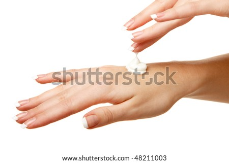 Spa hands over isolated white background