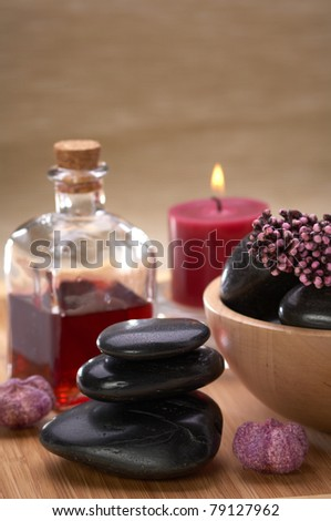 spa hot stone essential oil and candle