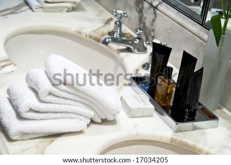 Spa items in a luxurious bathroom