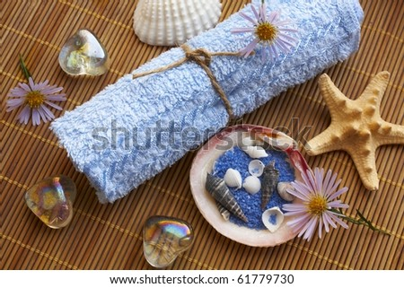 Spa items on bamboo mat - stock photo