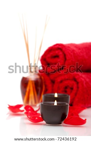 Spa items with rose petals - stock photo