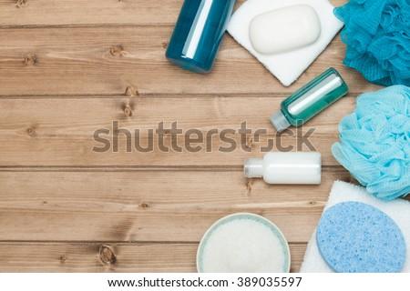 Spa Kit. Top View. Shampoo, Soap Bar And Liquid. Shower Gel. Aromatherapy Salt.