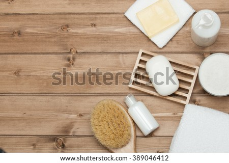 Spa Kit. Top View. Shampoo, Soap Bar And Liquid. Shower Gel. Aromatherapy Salt. Copy Space.
