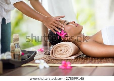 Spa massage, facial massage outdoor nature, beauty treatments