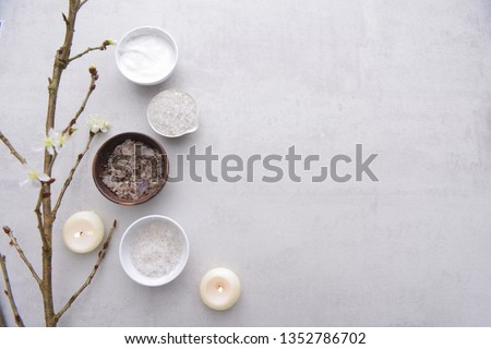 Spa or wellness setting. composition of spa treatment on gray background