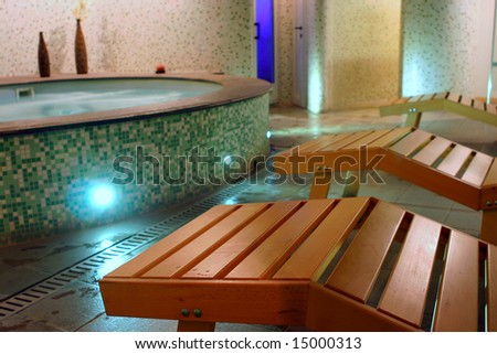 Spa relax room with couches, sauna, hydromassage and turkish bath
