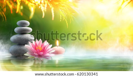 Spa - Relaxation With Massage Stones And Waterlily In Water