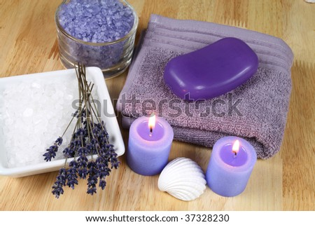 Spa Resort Therapy Composition - Lavender Flowers, Candles And ...