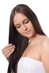 Spa salon. Beauty salon. Straight and long hair.Nude make-up. Sauna.Girl. Woman.Brunette.Long hair.