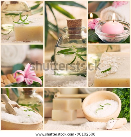 Spa series. Spa collage made of five images. Floral water, bath salt, candles and towel.