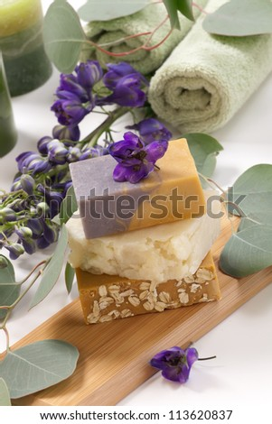 Spa set - assorted aromatic organic handmade soap, fresh Delphinium flowers, and eucalyptus leaf. Best suited for relaxing and health commercials