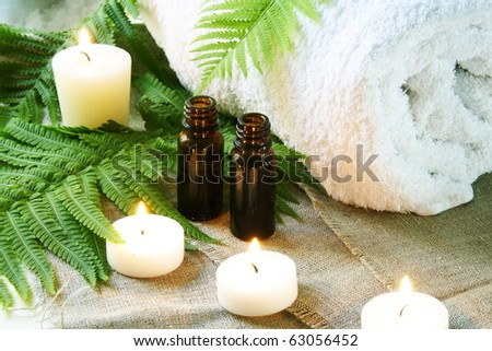Spa Set of Towel, Candles and Aroma Oil