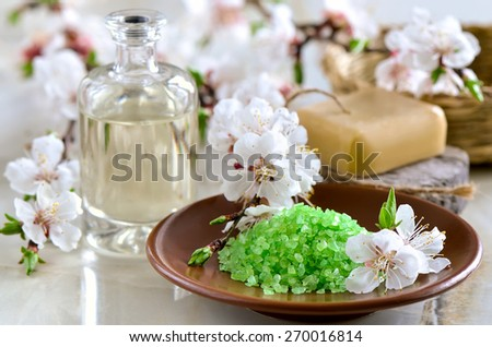 Spa set with green sea salt, handmade soap and massage oil decorated with spring blooming branches