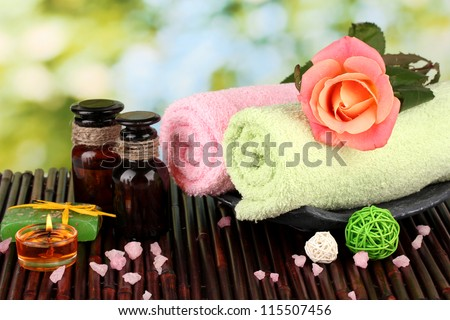 spa setting  on  green background