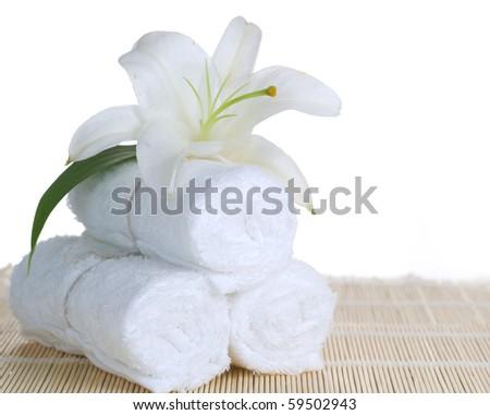 Spa setting over white