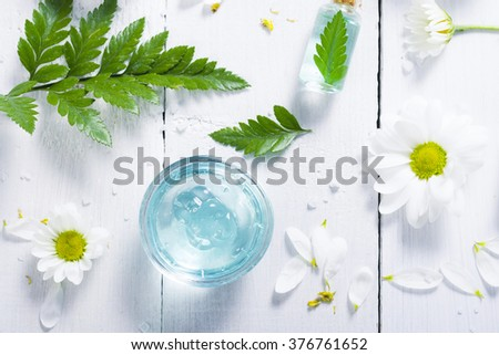 spa setting with cosmetic cream, gel, bath salt and fern leaves on white wooden table background