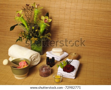 Spa setting with flowers