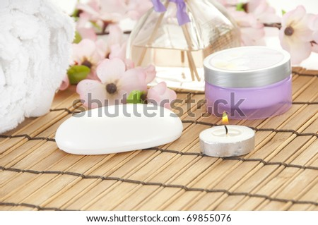 Spa setting with items to relax