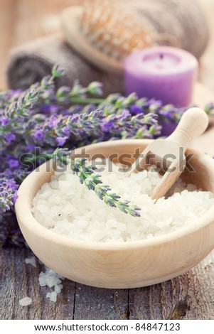 Spa setting with lavender, towel and natural soap