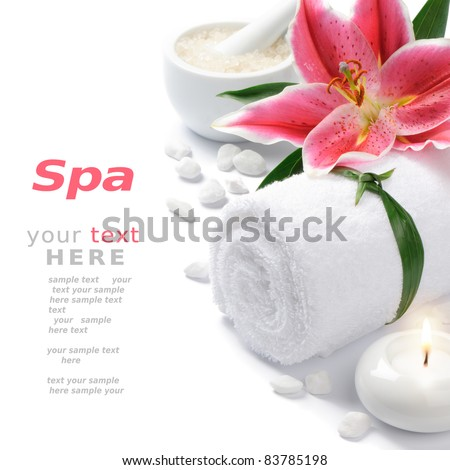 Spa setting with lily flower