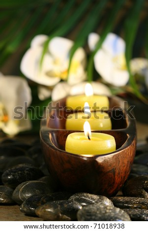 Spa setting with pebbles, candles for wellness concept